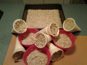 Moulds filled with suet mixture and slab for suet cakes